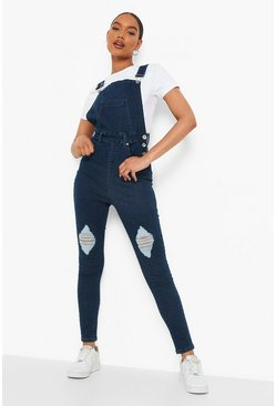 Dark blue Slim Fit Distressed Denim Overall