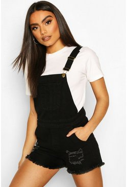 Black Stretch Distressed Dungaree Denim Short