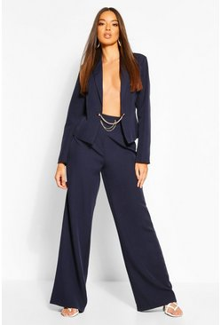 Navy Chain Detail Wide Leg Tailored Pants