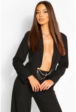 Black Chain Detail Tailored Blazer