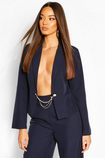 Navy Chain Detail Tailored Blazer