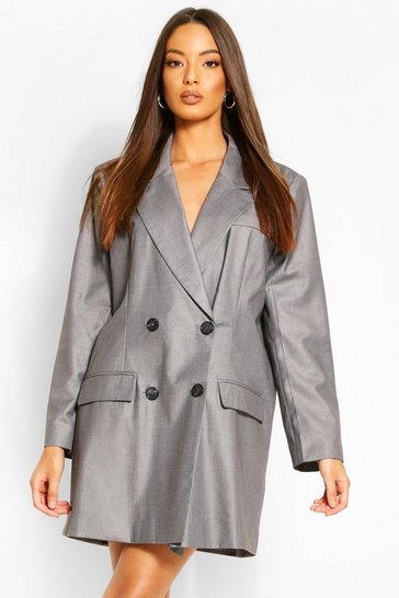 Grey Masculine Oversized  Contrast Blazer Dress