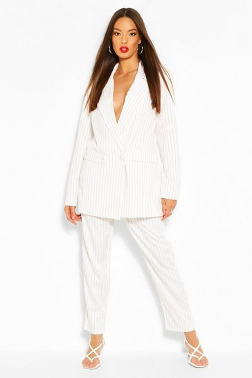 Ivory Paperbag Pinstripe Tapered Trouser