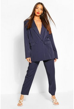 Navy Paperbag Pinstripe Tapered Trouser