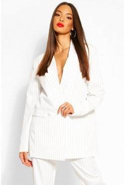 Ivory Oversized Dad Fit Tailored Pinstripe Blazer