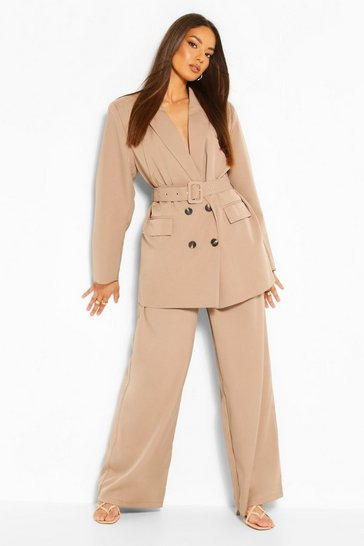 Taupe Oversized Tailored Wide Leg Trouser