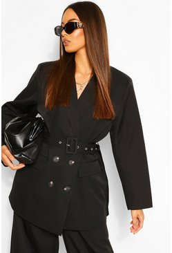 Black Oversized Belted Dad Blazer