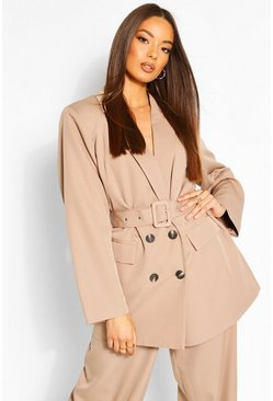Taupe Oversized Belted Dad Blazer