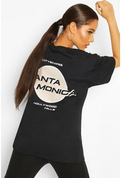 Black Oversized Santa Monica Back Graphic Tee