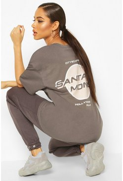 Charcoal Oversized Santa Monica Back Graphic Tee