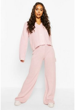 Pink Knitted Button Through Wide Leg Cardigan Set