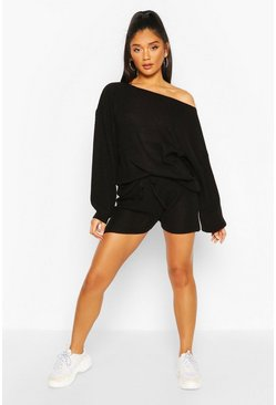 Black Knitted Waffle Short Lounge Set