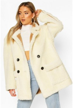 Cream Luxe Lined Teddy Faux Fur Oversized Coat