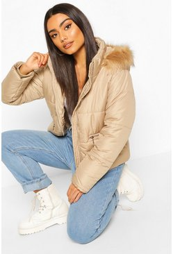 Stone Faux Fur Trim Puffer Jacket