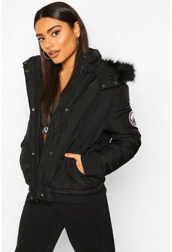 Black Faux Fur Trim Crop Puffer Jacket