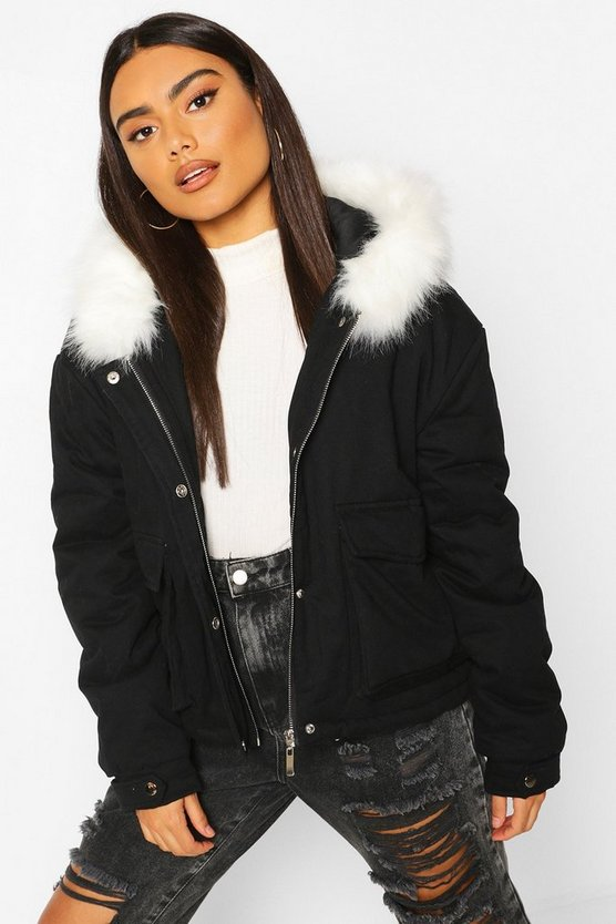 Black Faux Fur Trim Pocket Detail Parka
