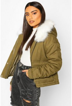 Khaki Faux Fur Trim Pocket Detail Parka