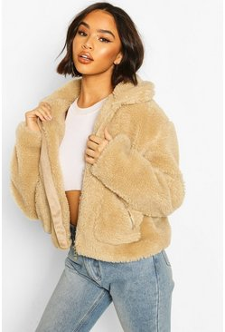 Grey Pocket Detail Crop Teddy Faux Fur Jacket