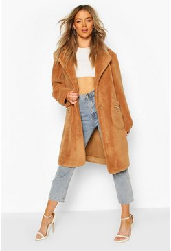 Camel Pocket Detail Teddy Faux Fur Coat