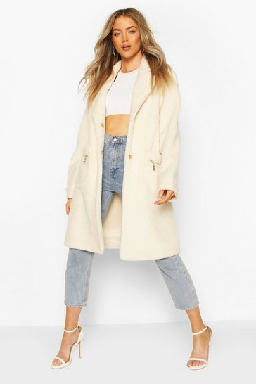 Cream Pocket Detail Teddy Faux Fur Coat