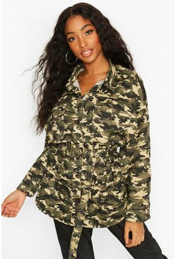 Khaki Oversized Belted Camo Print Shirt Jacket