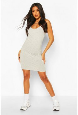 Grey marl Basic Strappy Cami Bodycon Dress