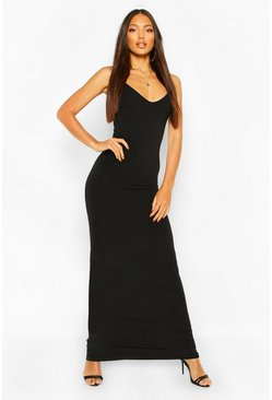 Black Basic Strappy Maxi Dress