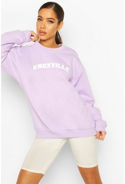 Lilac Extreme Oversized Slogan Crew Neck Sweat