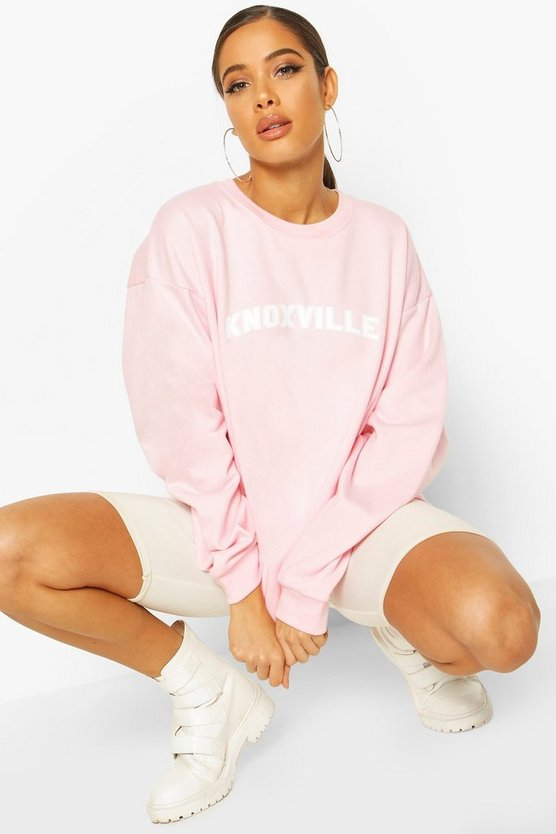 Pastel pink Extreme Oversized Slogan Crew Neck Sweat