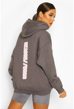 Charcoal Extreme Oversize Slogan Graphic Hoody