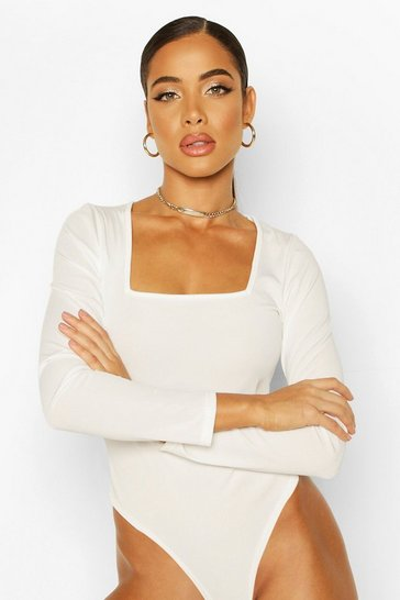 Ecru Jersey Square Neck Bodysuit