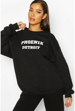 Black Extreme Oversized Slogan Crew Neck Sweat