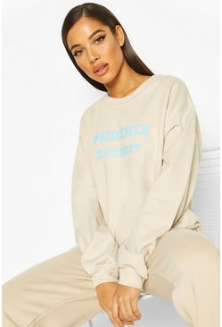 Ecru Extreme Oversized Slogan Crew Neck Sweat