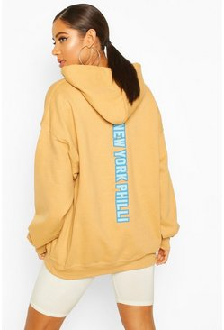 Biscuit Extreme Oversized New York Philli Slogan Hoody