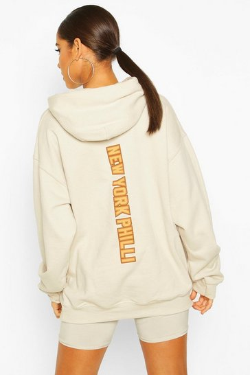 Ecru Extreme Oversized New York Philli Slogan Hoody