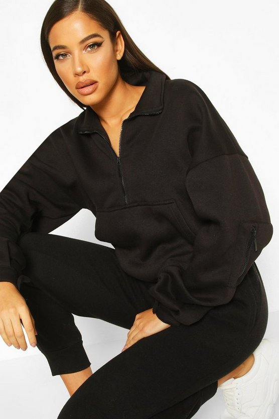Black Zip Oversized High Neck Sweat