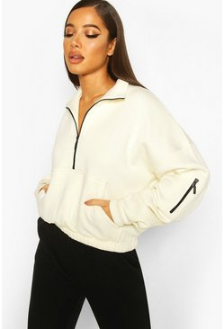 Cream Zip Oversized High Neck Sweat