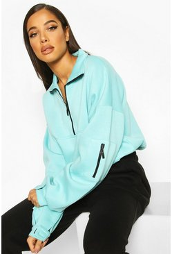 Pale green Zip Oversized High Neck Sweat