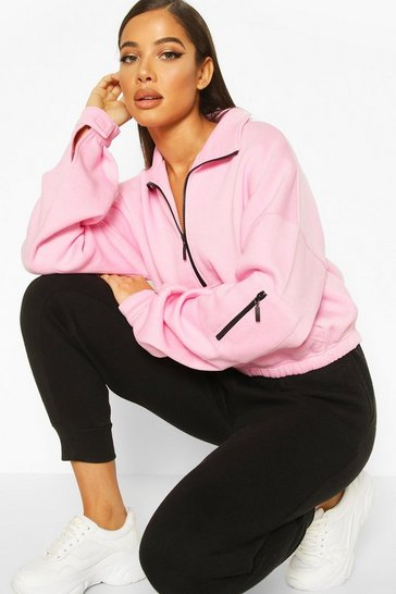 Pastel pink Zip Oversized High Neck Sweat