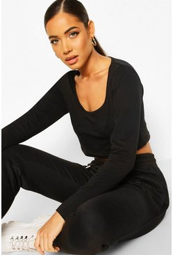 Black Square Neck Crop Jogger Set