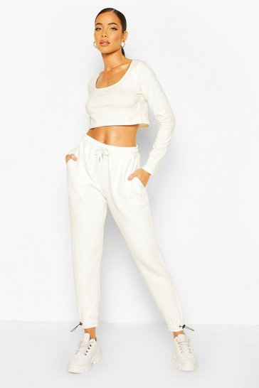 Ecru Square Neck Crop Jogger Set