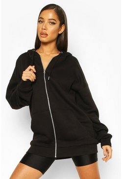 Black Oversized Zip Through Hoody