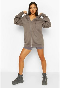 Charcoal Oversized Zip Through Hoody