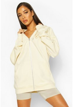 Ecru Oversized Zip Through Hoody