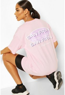 Oversized grafisches T-Shirt mit Slogan, Pastellrosa
