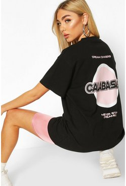 Black Oversized Calabasas Back Slogan Tee
