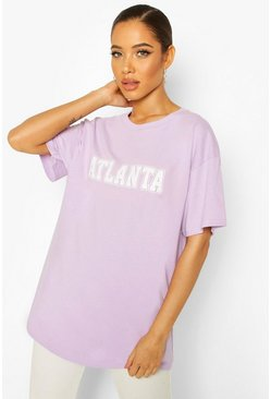Pale lilac Oversized Atlanta Slogan Tee
