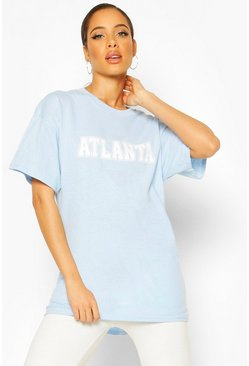 Pastel blue Oversized Atlanta Slogan Tee