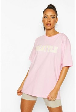 T-shirt oversize à slogan Seattle, Rose pastel