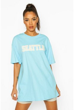 Turquoise Oversized Seattle Slogan Tee